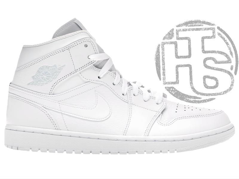 Мужские кроссовки Air Jordan 1 Mid Triple White 554724-109