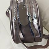 Модная женская кожаная сумка клатч Bronze, фото 5