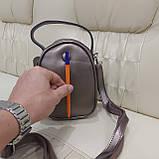 Модная женская кожаная сумка клатч Bronze, фото 8