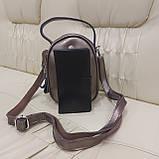 Модная женская кожаная сумка клатч Bronze, фото 2