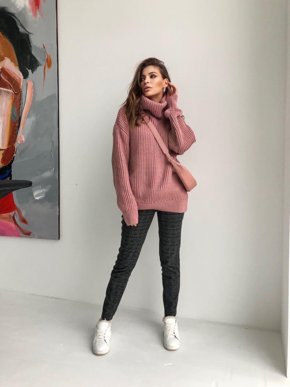 Женский мягкий удлиненный , полушерстяной свитер-туника