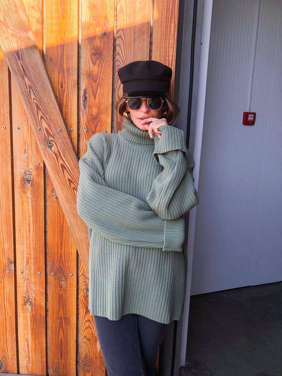Женский мягкий удлиненный  свитер-туника размер единый