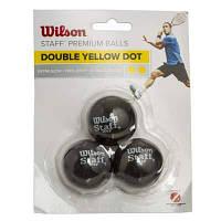 Мяч для сквоша WILSON (3шт) WRT618100 STAFF (резина, d-см, 2 желтые точки, сверхмедленный мяч, черный) Код