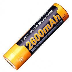Літієвий акумулятор Li-Ion 18650 Fenix ARB-L18-2600U 3.6 V (2600mAh, USB)