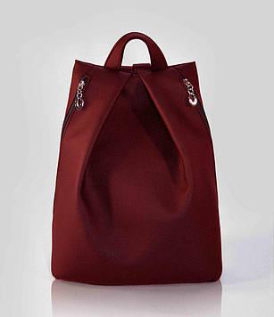 Стильный бордовый женский рюкзак код 9-25