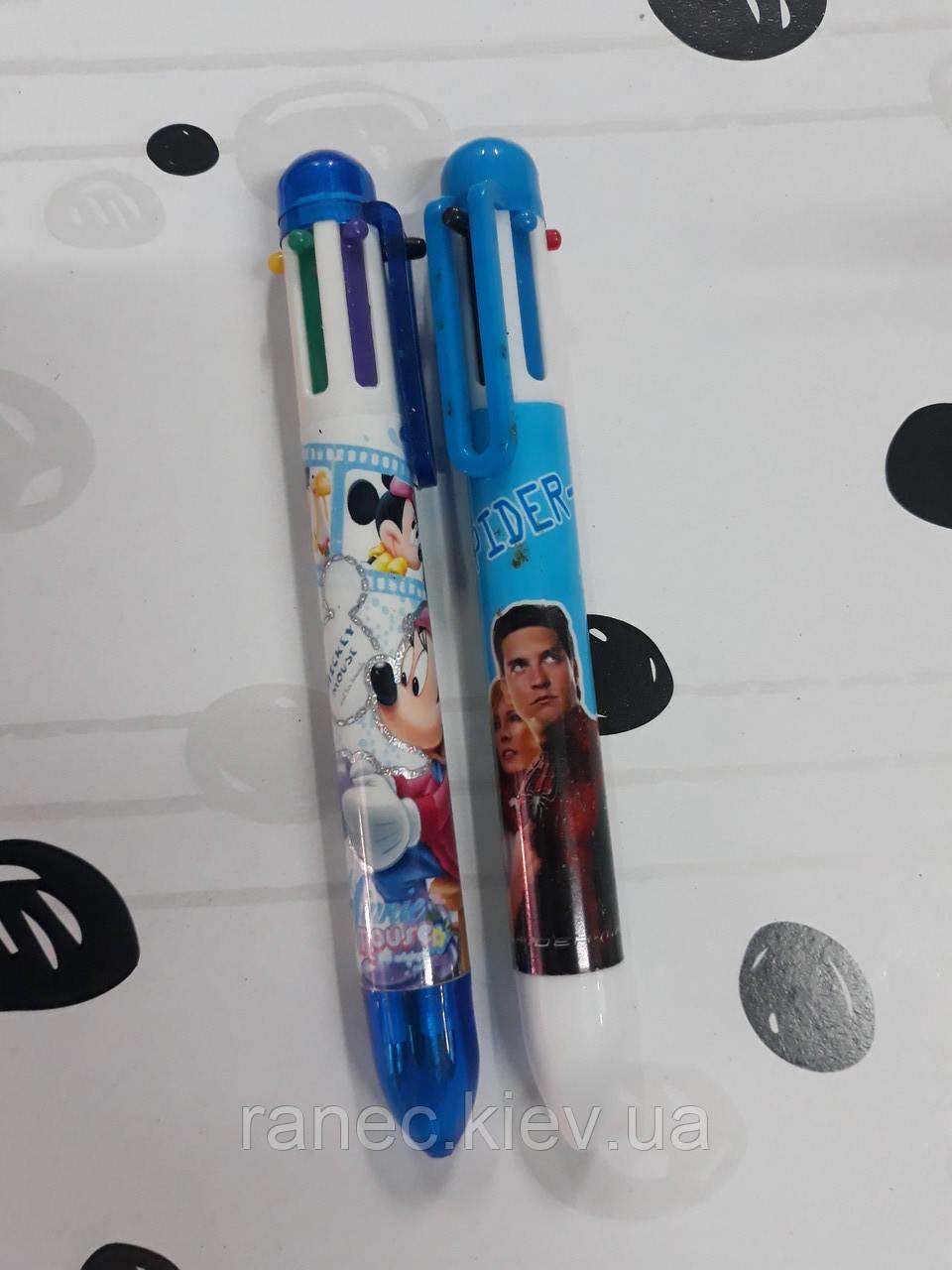 Многоцветная ручка разноцветная шариковая 605-13 голубой корпус