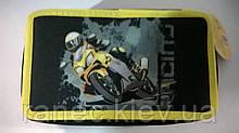 """Пенал CLASS """"Moto"""", 3 отделения, черный с желтым, без наполнения, 95065"""