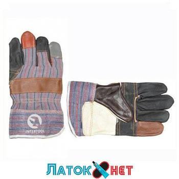 Перчатка комбинированная из кожи и ткани SP-0004 Intertool
