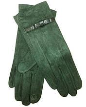 Перчатки замшевые сенсорные без утеплителя Anjela размер 7.5 зеленые