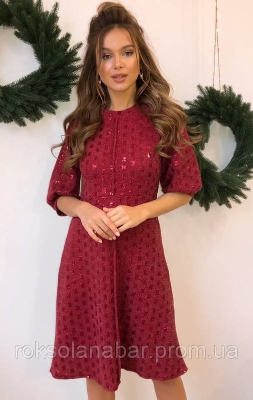 Платье женское с пайетками бордового цвета