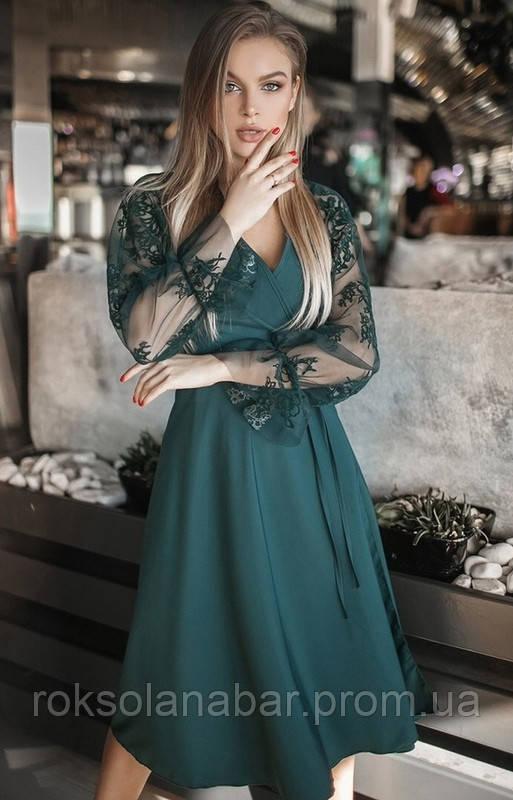 Платье миди с кружевными рукавами цвета бутылка универсального размера 42-46