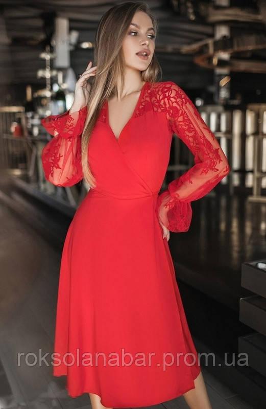 Плаття міді з мереживними рукавами червоного кольору універсального розміру 42-46