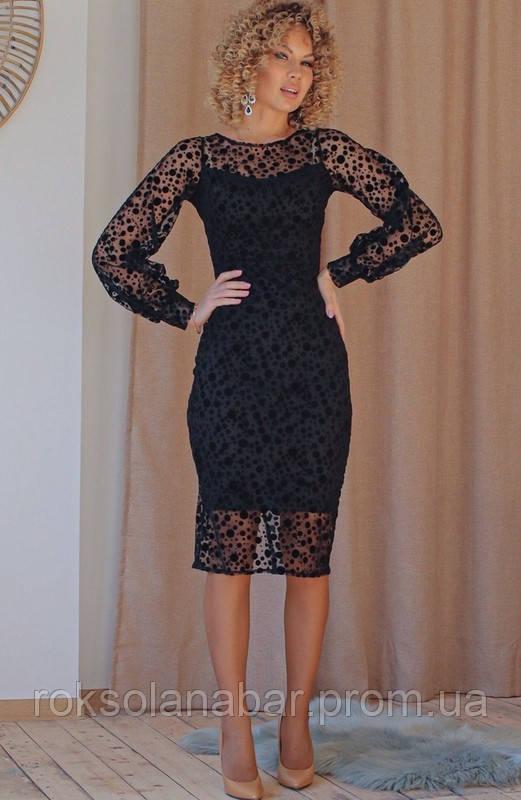 Жіноча сукня з сіткою-флок чорного кольору