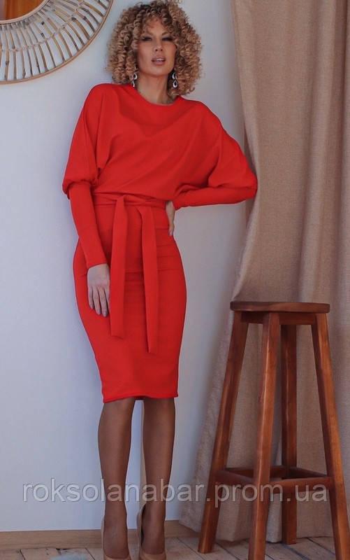 Сукня жіноча червоного кольору з рукавами ліхтариками