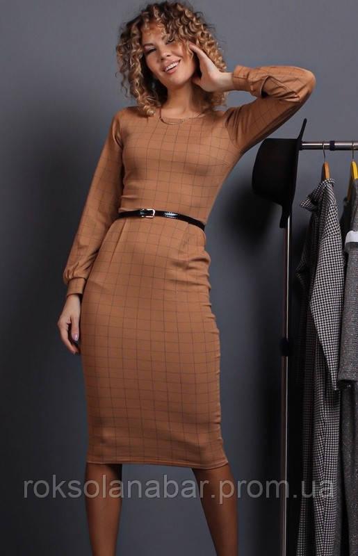 Стильне жіноче плаття в клітинку бежевого кольору