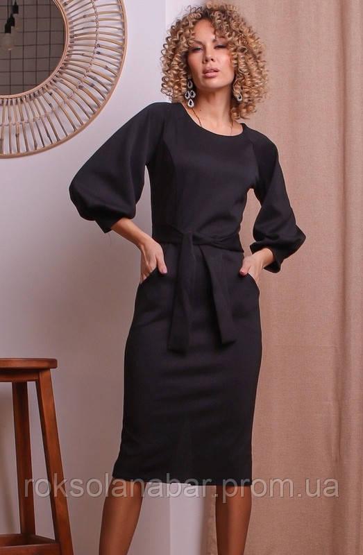 Жіноче плаття з італійським трикотажем з поясом чорного кольору