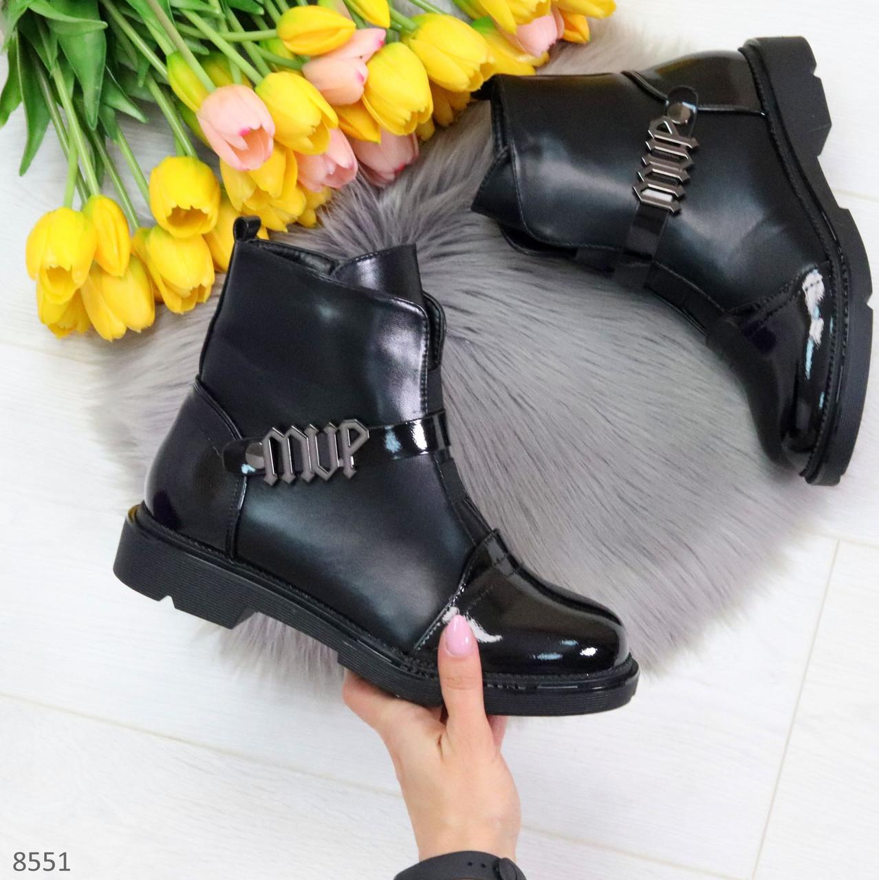 Дизайнерские глянцевые черные женские ботинки на низком ходу