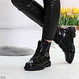 Дизайнерские глянцевые черные женские ботинки на низком ходу, фото 2