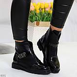 Дизайнерские глянцевые черные женские ботинки на низком ходу, фото 3