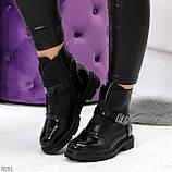Дизайнерские глянцевые черные женские ботинки на низком ходу, фото 5