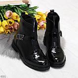 Дизайнерские глянцевые черные женские ботинки на низком ходу, фото 7