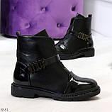 Дизайнерские глянцевые черные женские ботинки на низком ходу, фото 8