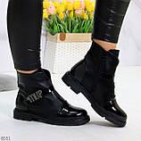 Дизайнерские глянцевые черные женские ботинки на низком ходу, фото 9