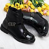 Дизайнерские глянцевые черные женские ботинки на низком ходу, фото 10