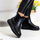 Ультра модные удобные черные женские ботинки челси по доступной цене, фото 3