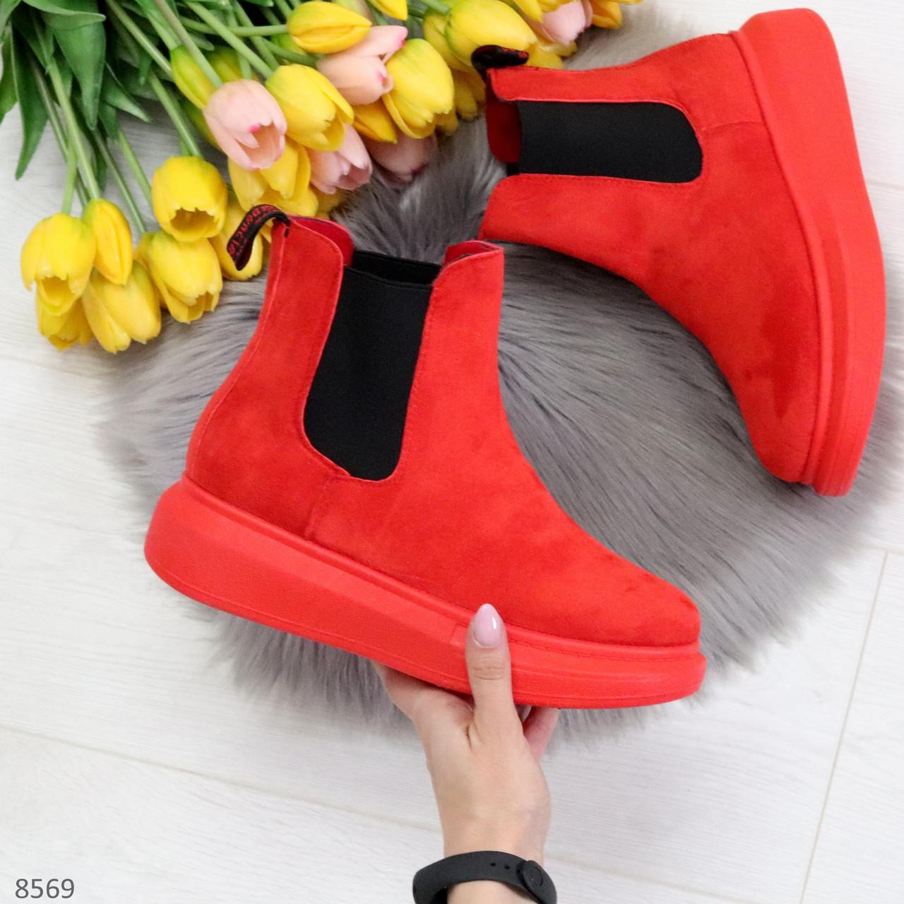 Ультра модные яркие красные женские ботинки челси по доступной цене