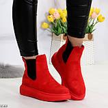 Ультра модные яркие красные женские ботинки челси по доступной цене, фото 3
