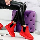 Ультра модные яркие красные женские ботинки челси по доступной цене, фото 5