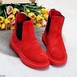 Ультра модные яркие красные женские ботинки челси по доступной цене, фото 7