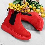Ультра модные яркие красные женские ботинки челси по доступной цене, фото 8