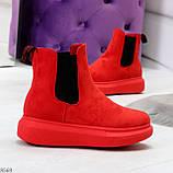 Ультра модные яркие красные женские ботинки челси по доступной цене, фото 10