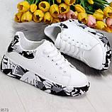 Модельные трендовые белые женские кроссовки кеды крипперы в стиле гранж, фото 4