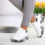 Модельные трендовые белые женские кроссовки кеды крипперы в стиле гранж, фото 7