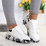 Модельные трендовые белые женские кроссовки кеды крипперы в стиле гранж, фото 10