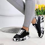 Модельные трендовые черные женские кроссовки кеды крипперы в стиле гранж, фото 3