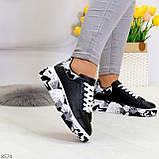 Модельные трендовые черные женские кроссовки кеды крипперы в стиле гранж, фото 4