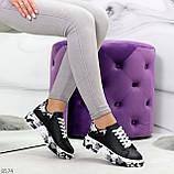 Модельные трендовые черные женские кроссовки кеды крипперы в стиле гранж, фото 5