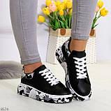 Модельные трендовые черные женские кроссовки кеды крипперы в стиле гранж, фото 6