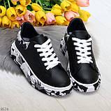 Модельные трендовые черные женские кроссовки кеды крипперы в стиле гранж, фото 8