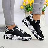 Модельные трендовые черные женские кроссовки кеды крипперы в стиле гранж, фото 9