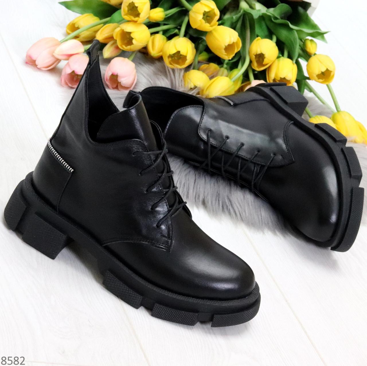 Крутые черные женские ботинки из натуральной кожи низкий ход
