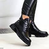 Крутые черные женские ботинки из натуральной кожи низкий ход, фото 3