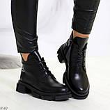 Крутые черные женские ботинки из натуральной кожи низкий ход, фото 4