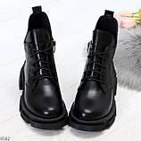 Крутые черные женские ботинки из натуральной кожи низкий ход, фото 5