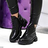 Крутые черные женские ботинки из натуральной кожи низкий ход, фото 6