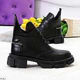 Крутые черные женские ботинки из натуральной кожи низкий ход, фото 7